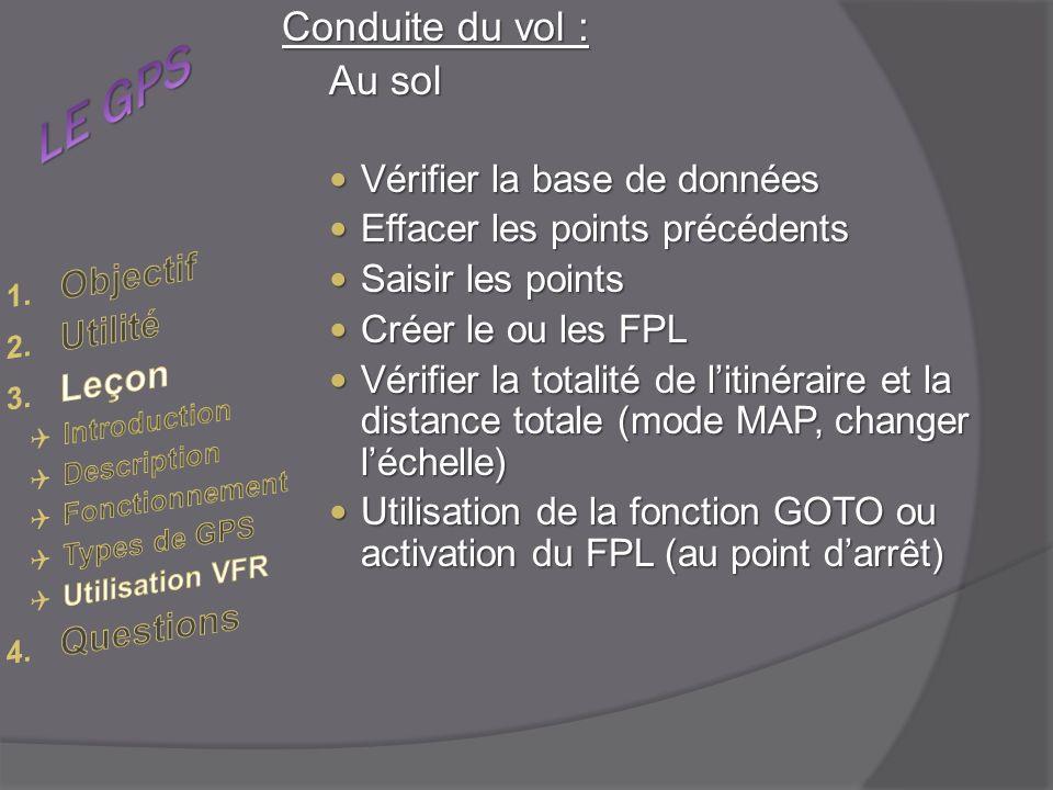 LE GPS Conduite du vol : Au sol Objectif Utilité Leçon Questions