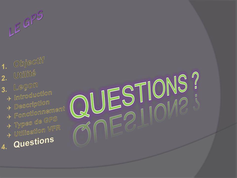 QUESTIONS LE GPS Objectif Utilité Leçon Questions Introduction