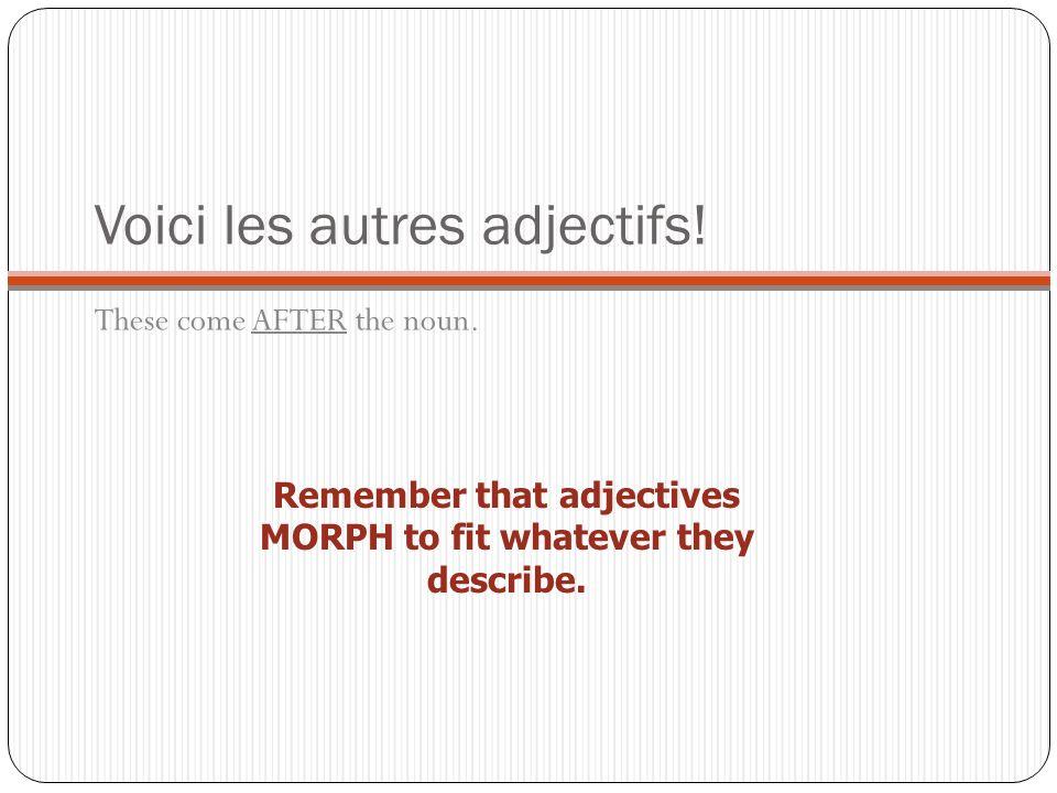 Voici les autres adjectifs!