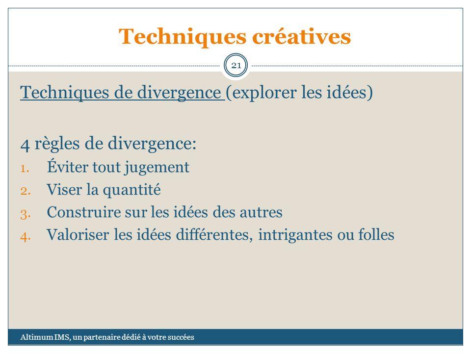 Techniques créatives Techniques de divergence (explorer les idées)