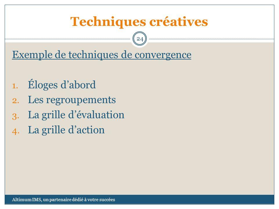 Techniques créatives Exemple de techniques de convergence