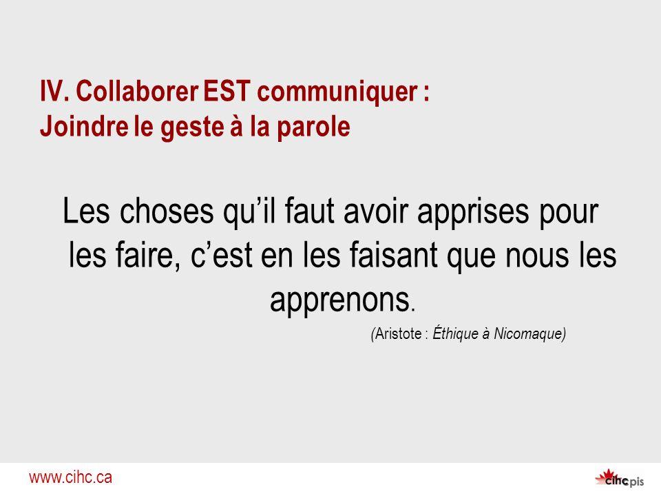 IV. Collaborer EST communiquer : Joindre le geste à la parole