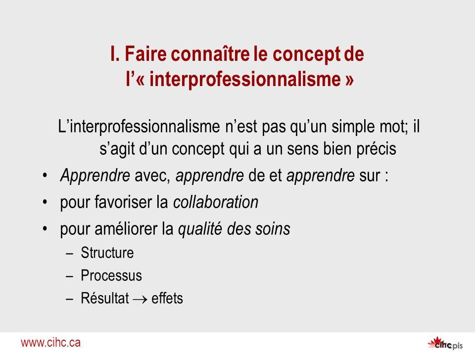 I. Faire connaître le concept de l'« interprofessionnalisme »