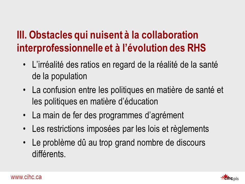 III. Obstacles qui nuisent à la collaboration interprofessionnelle et à l'évolution des RHS