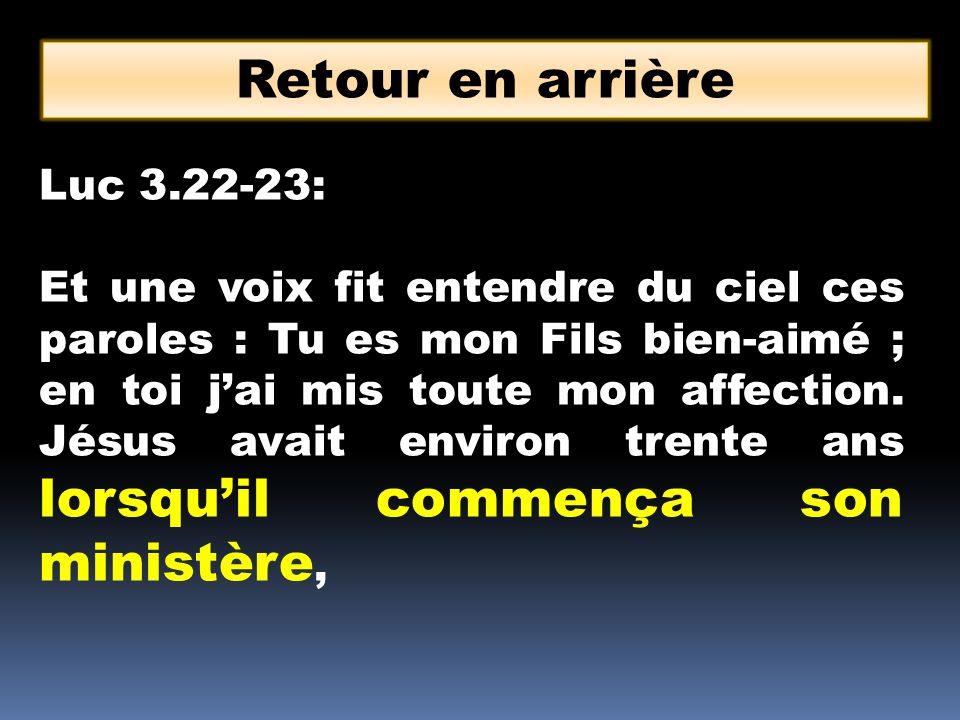 Retour en arrière Luc 3.22-23:
