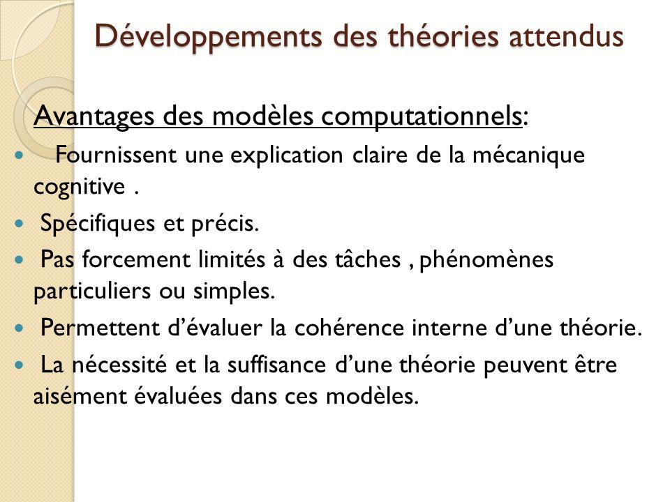 Développements des théories attendus
