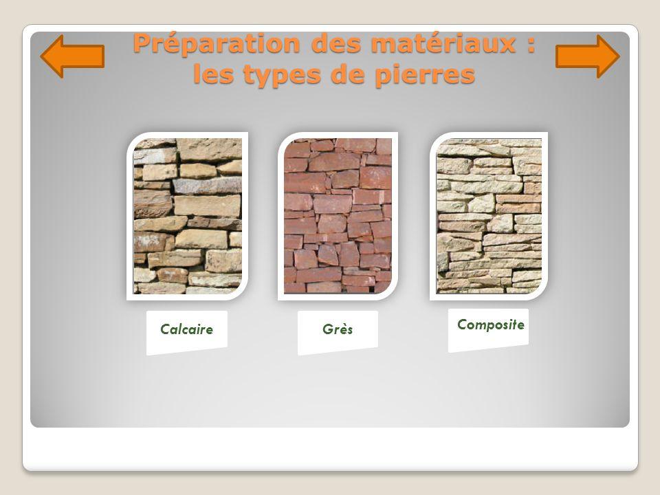 Préparation des matériaux : les types de pierres