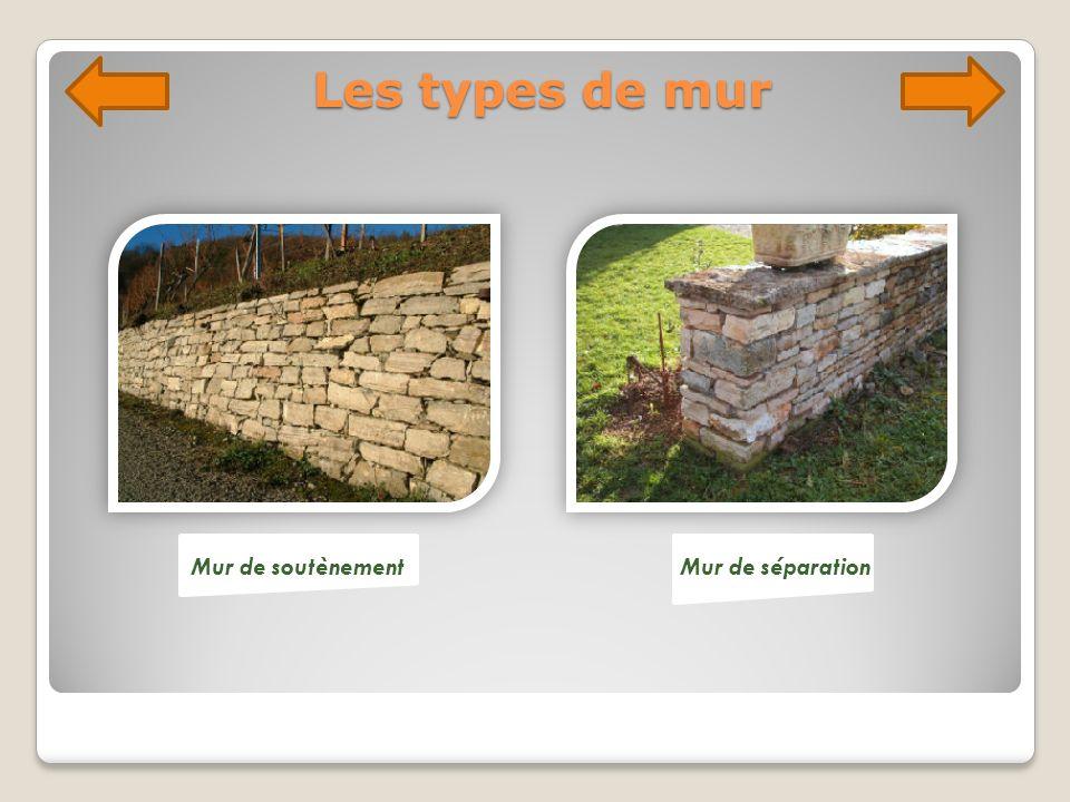 Les types de mur Mur de soutènement Mur de séparation