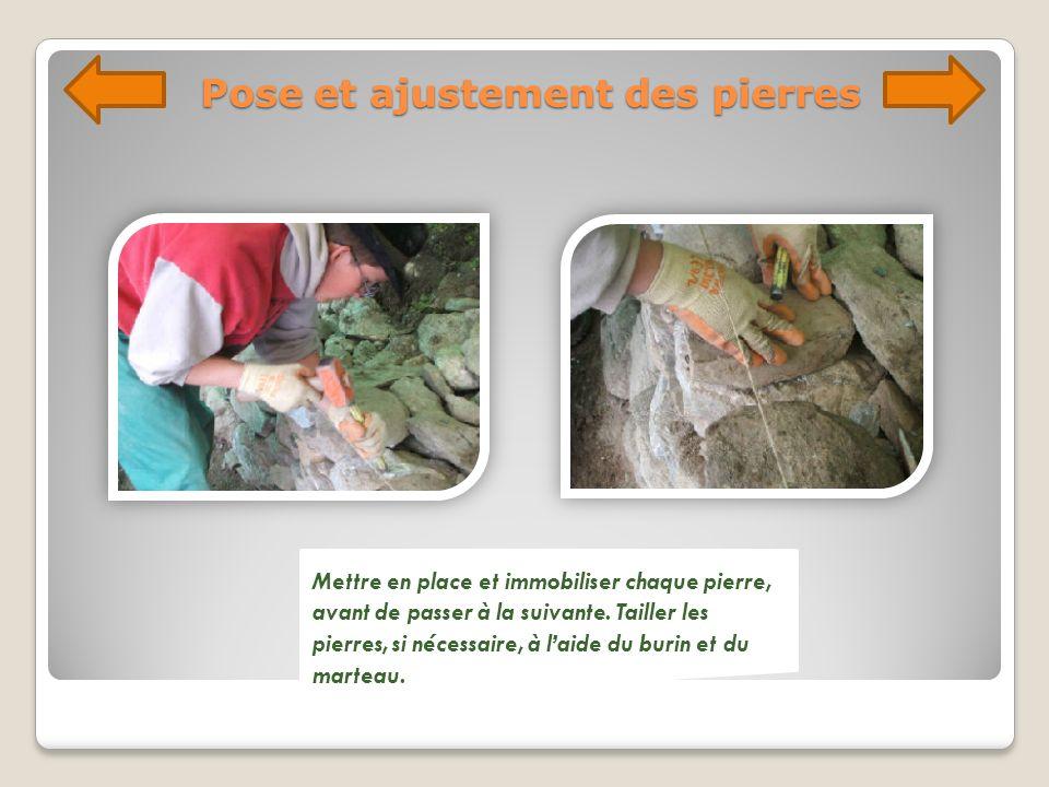 Pose et ajustement des pierres