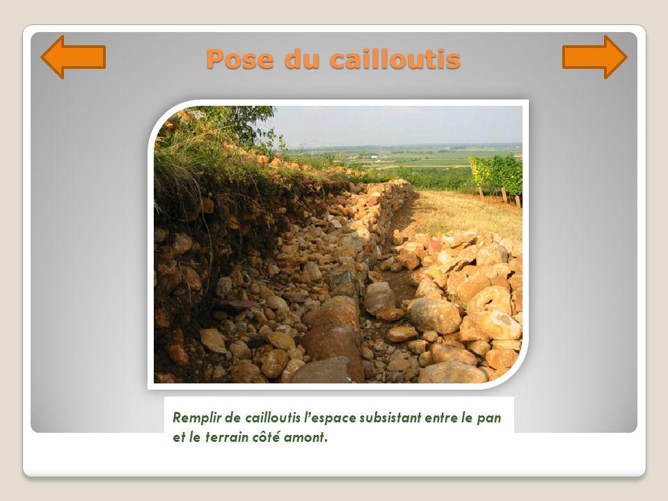Pose du cailloutis Remplir de cailloutis l'espace subsistant entre le pan et le terrain côté amont.