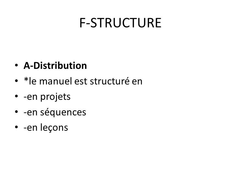 F-STRUCTURE A-Distribution *le manuel est structuré en -en projets