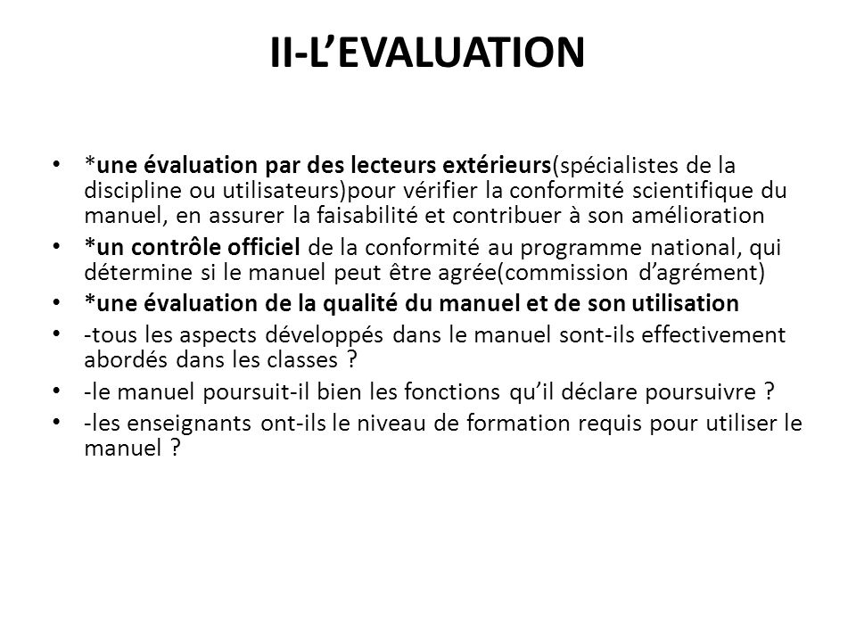 II-L'EVALUATION