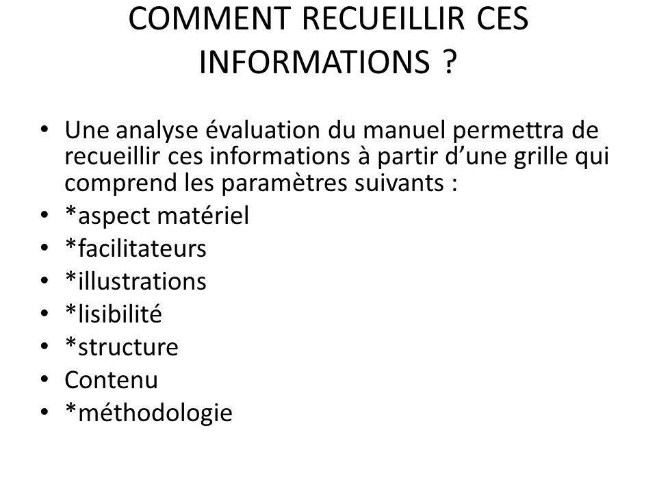 COMMENT RECUEILLIR CES INFORMATIONS