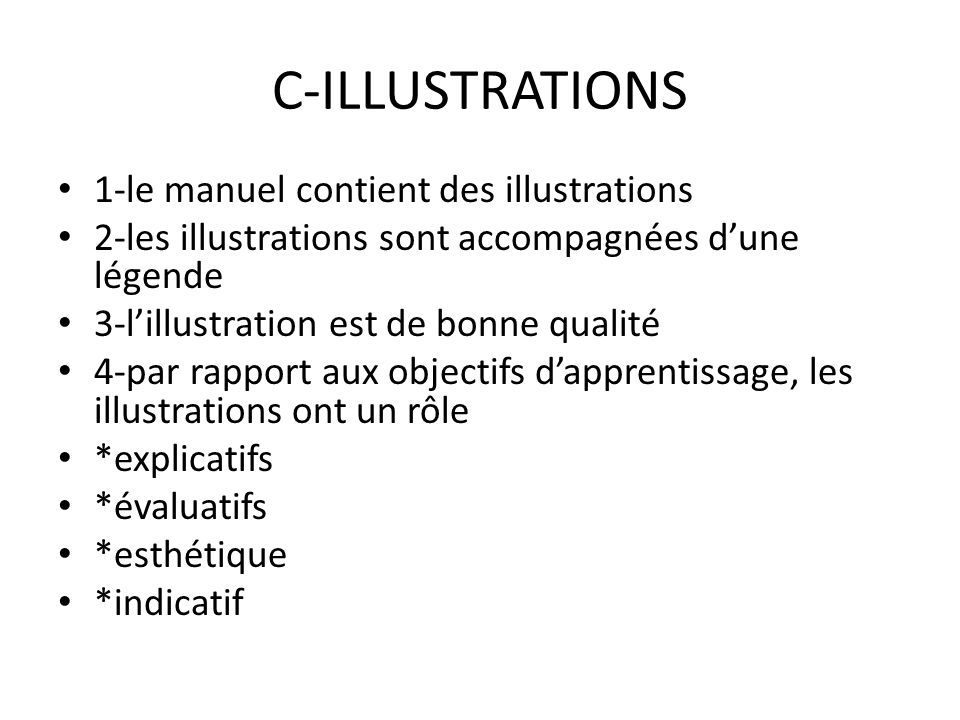 C-ILLUSTRATIONS 1-le manuel contient des illustrations