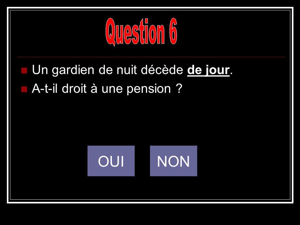 Question 6 OUI NON Un gardien de nuit décède de jour.