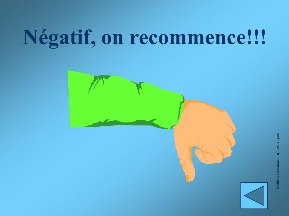 Négatif, on recommence!!! Mathieu Charbonneau, EDU 7492, UQAM