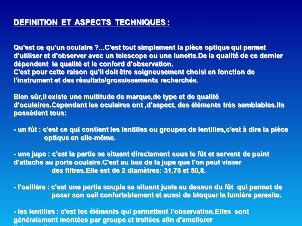 DEFINITION ET ASPECTS TECHNIQUES :