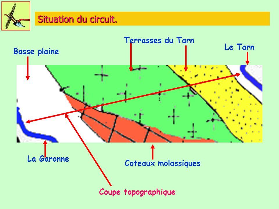 Situation du circuit. Terrasses du Tarn Le Tarn Basse plaine