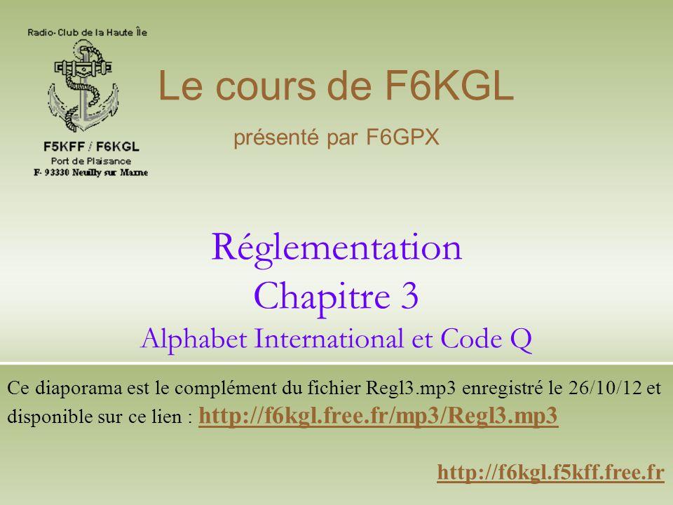 Réglementation Chapitre 3 Alphabet International et Code Q