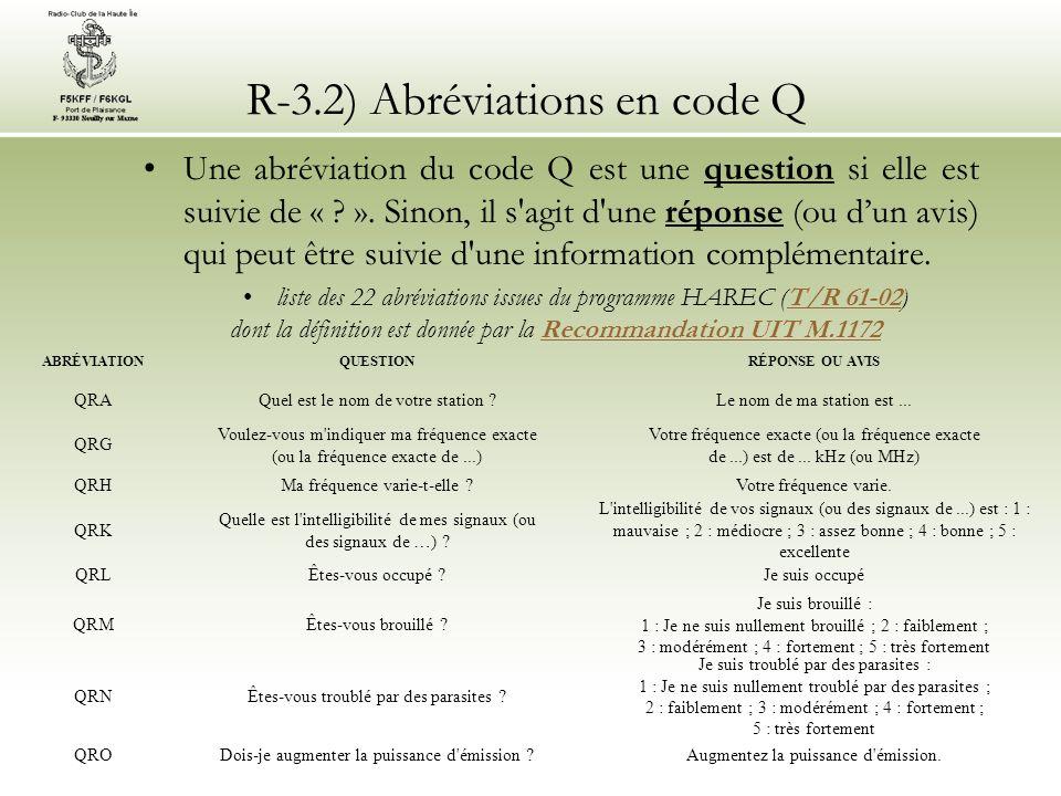 R-3.2) Abréviations en code Q
