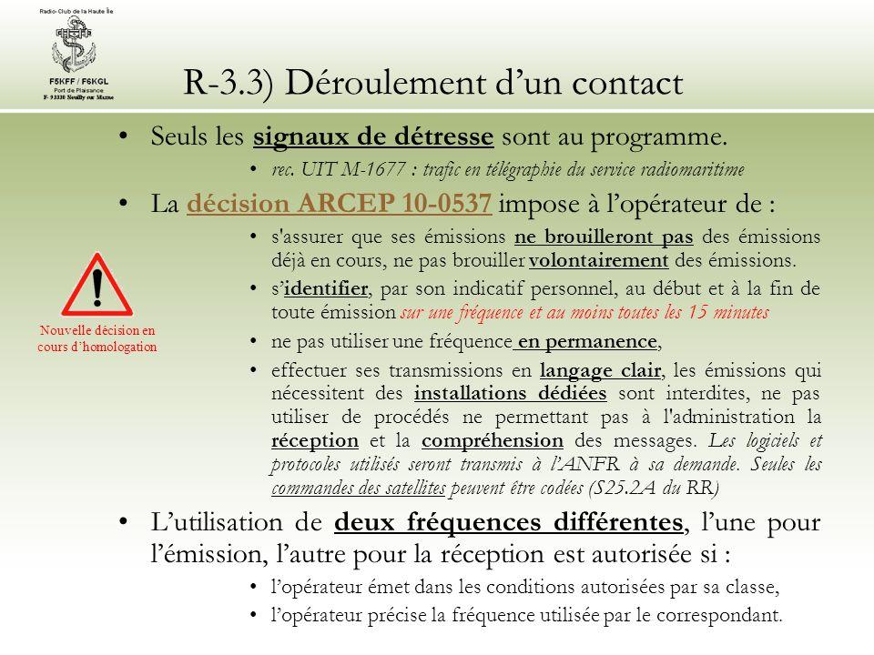 R-3.3) Déroulement d'un contact