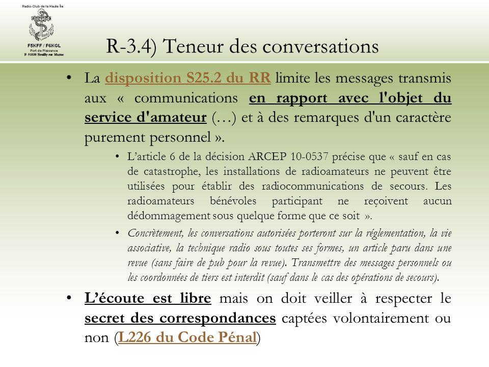 R-3.4) Teneur des conversations