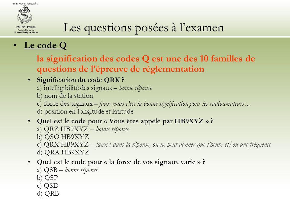 Les questions posées à l'examen
