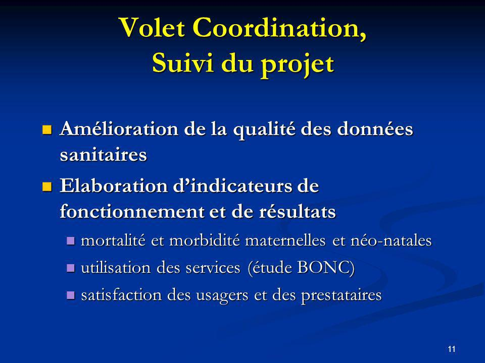 Volet Coordination, Suivi du projet