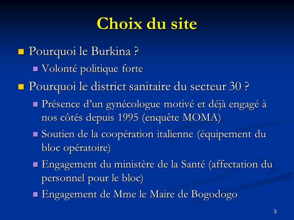 Choix du site Pourquoi le Burkina