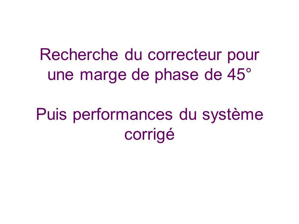 Recherche du correcteur pour une marge de phase de 45° Puis performances du système corrigé
