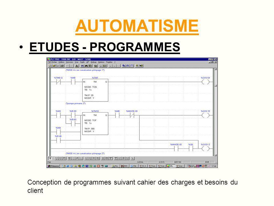 AUTOMATISME ETUDES - PROGRAMMES