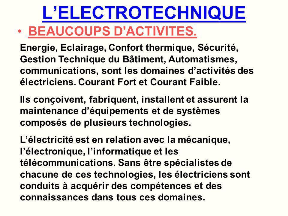 L'ELECTROTECHNIQUE BEAUCOUPS D ACTIVITES.