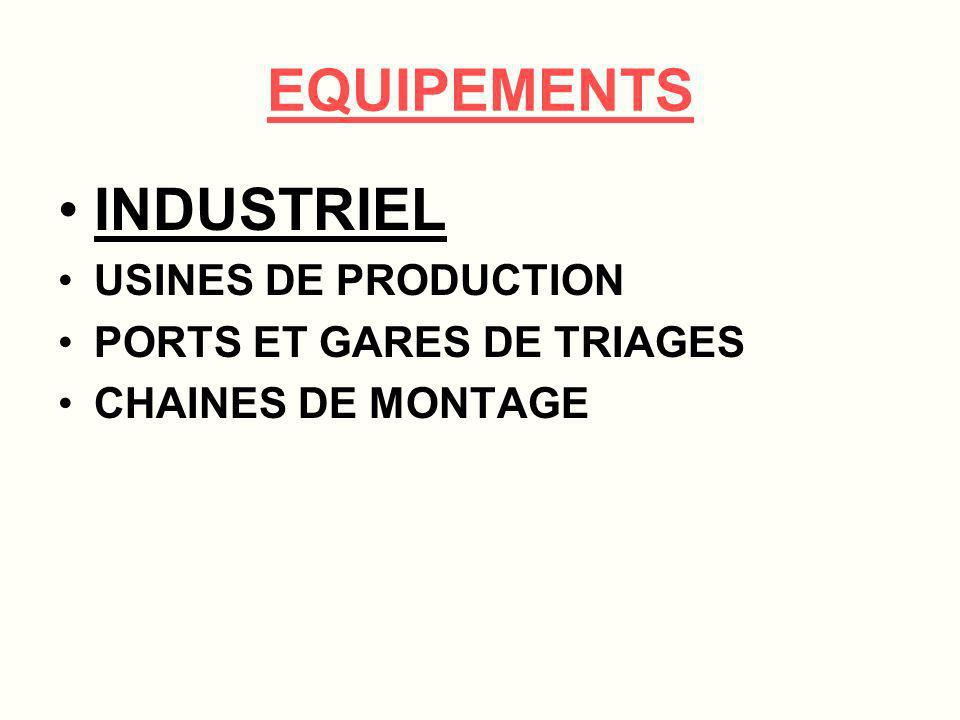 EQUIPEMENTS INDUSTRIEL USINES DE PRODUCTION PORTS ET GARES DE TRIAGES