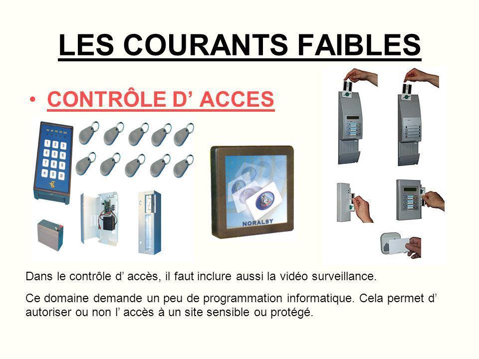 LES COURANTS FAIBLES CONTRÔLE D' ACCES