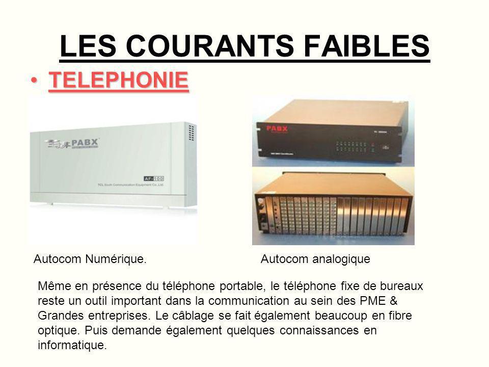 LES COURANTS FAIBLES TELEPHONIE Autocom Numérique. Autocom analogique