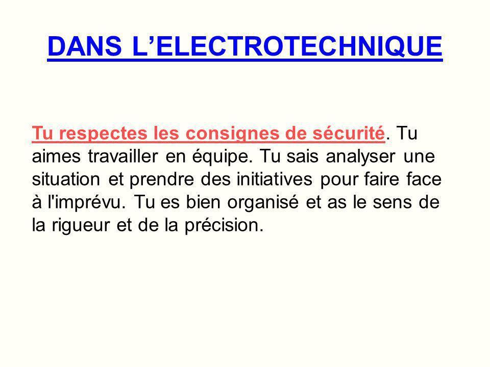 DANS L'ELECTROTECHNIQUE