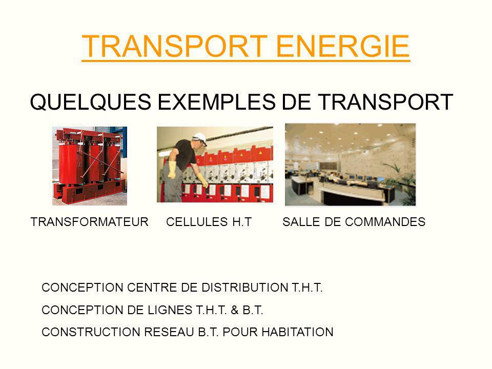 TRANSPORT ENERGIE QUELQUES EXEMPLES DE TRANSPORT