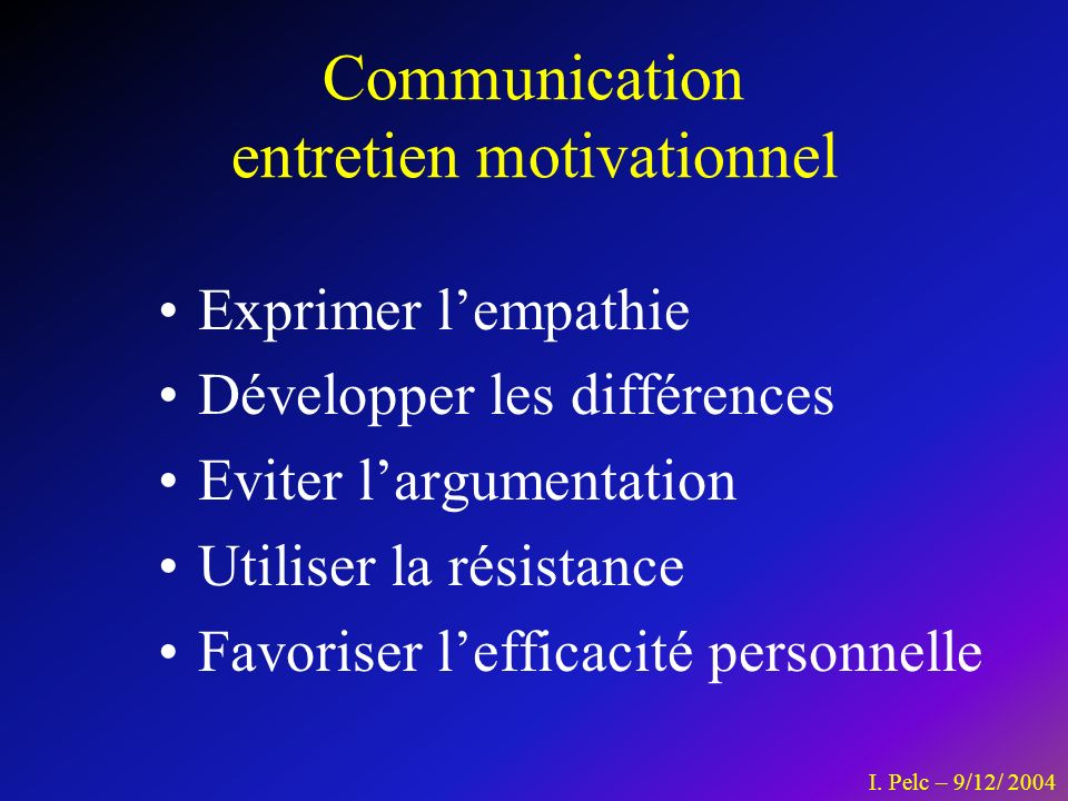 Communication entretien motivationnel