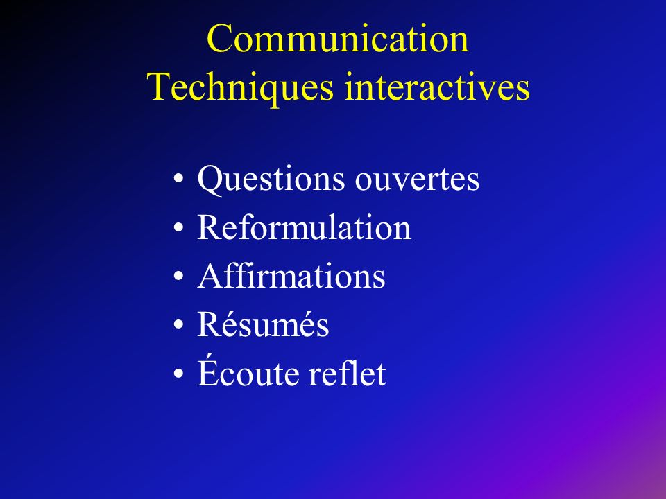 Communication Techniques interactives