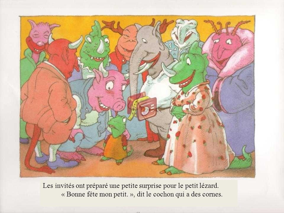 « Bonne fête mon petit. », dit le cochon qui a des cornes.