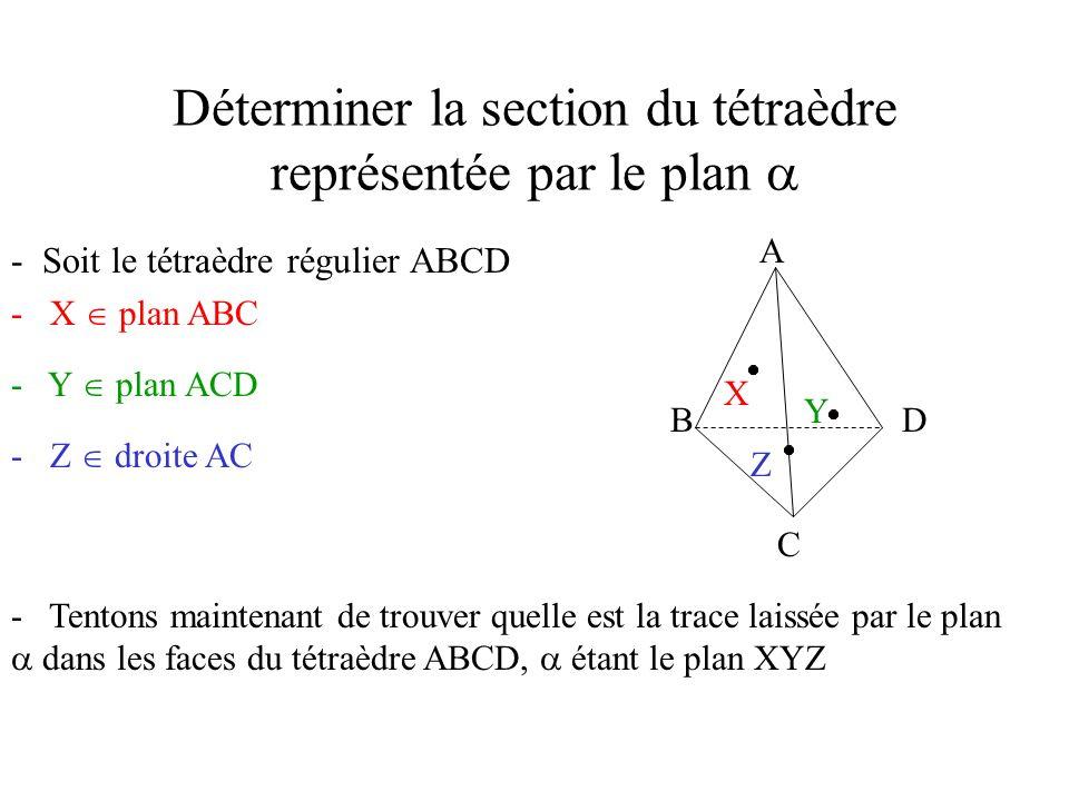Déterminer la section du tétraèdre représentée par le plan 