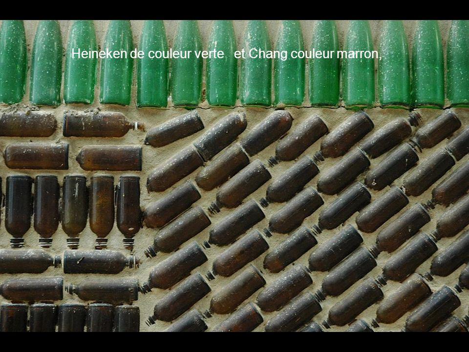 Heineken de couleur verte et Chang couleur marron,