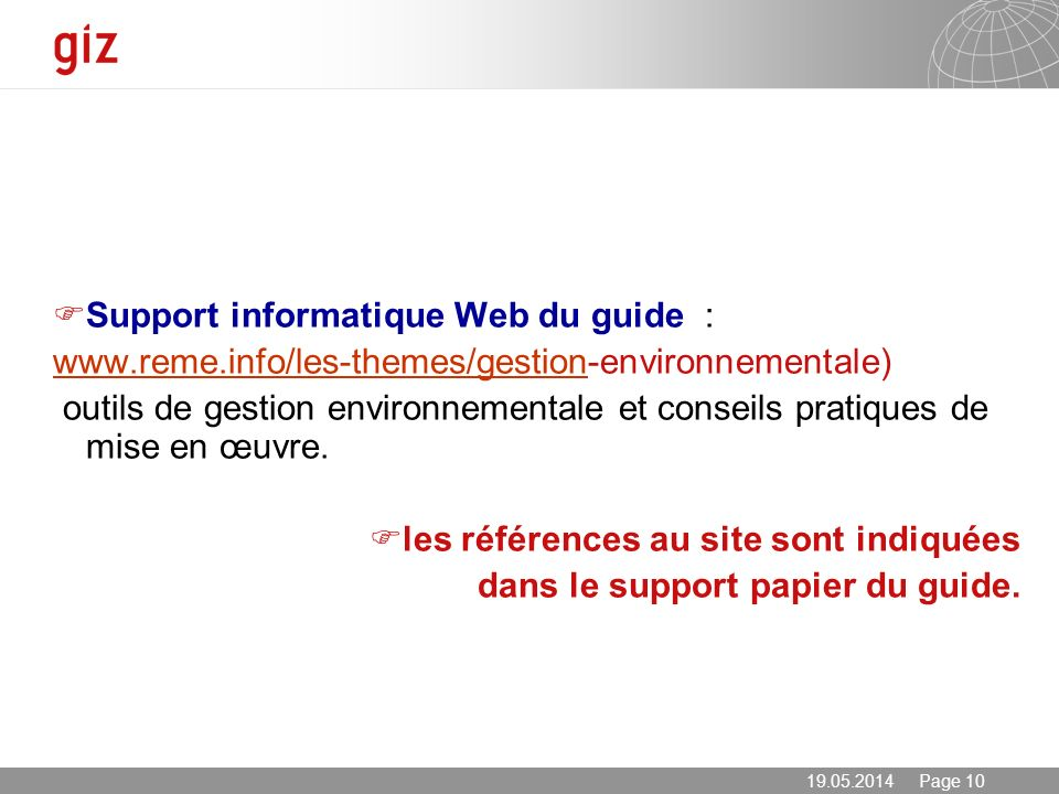 Support informatique Web du guide :