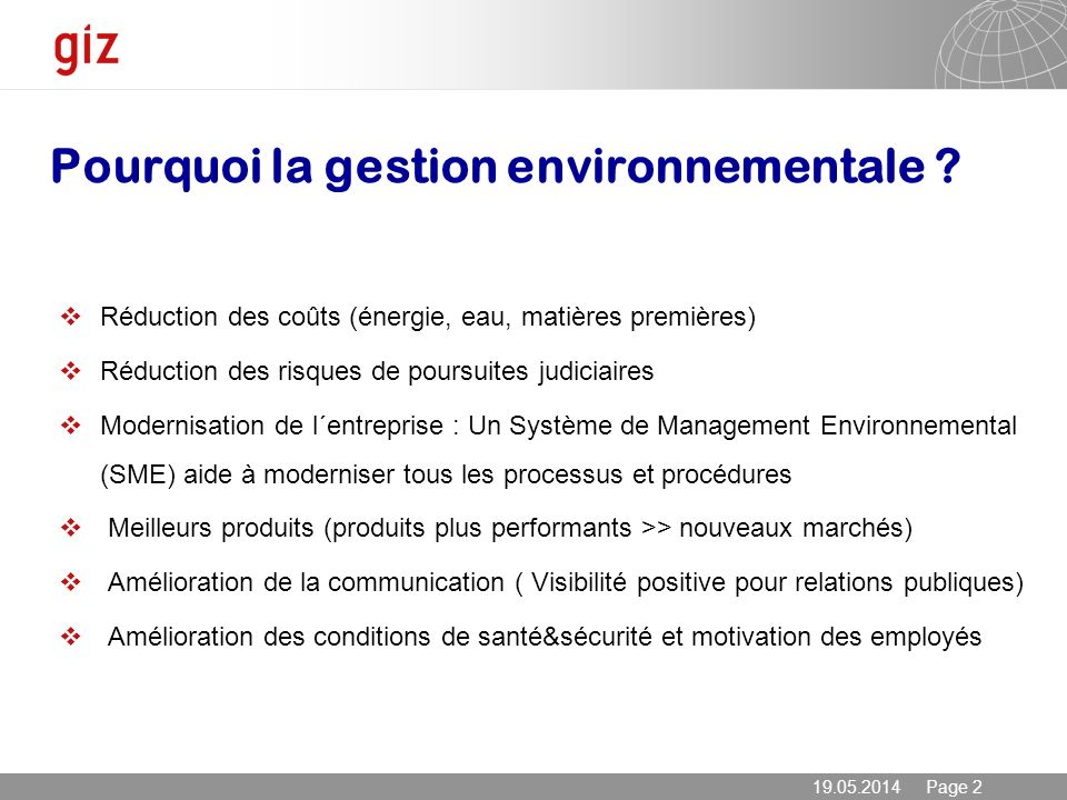 Pourquoi la gestion environnementale