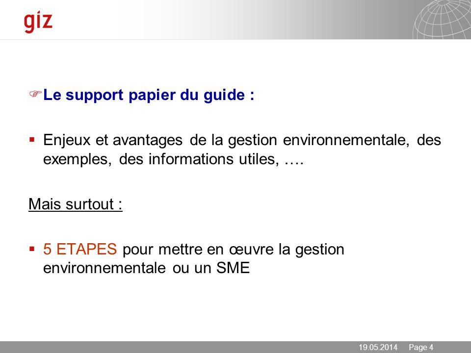 Le support papier du guide :