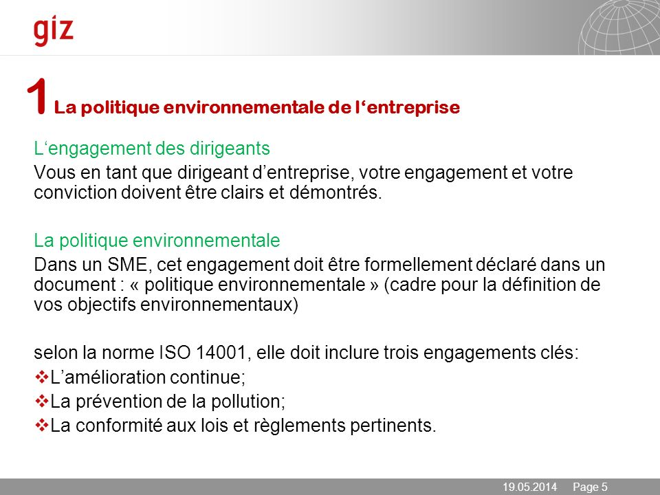 1La politique environnementale de l'entreprise