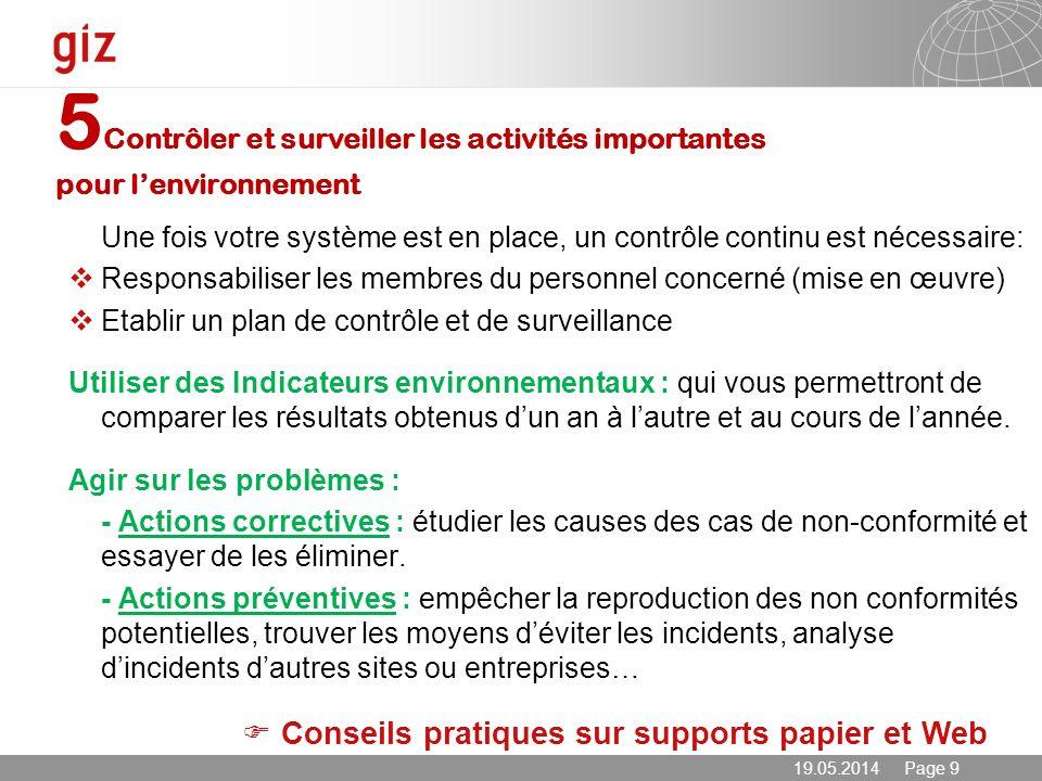 5Contrôler et surveiller les activités importantes pour l'environnement
