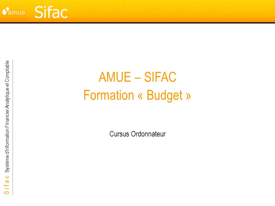 AMUE – SIFAC Formation « Budget »