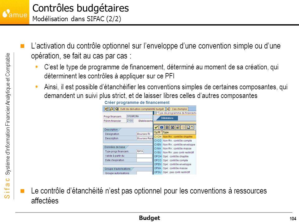 Contrôles budgétaires Modélisation dans SIFAC (2/2)