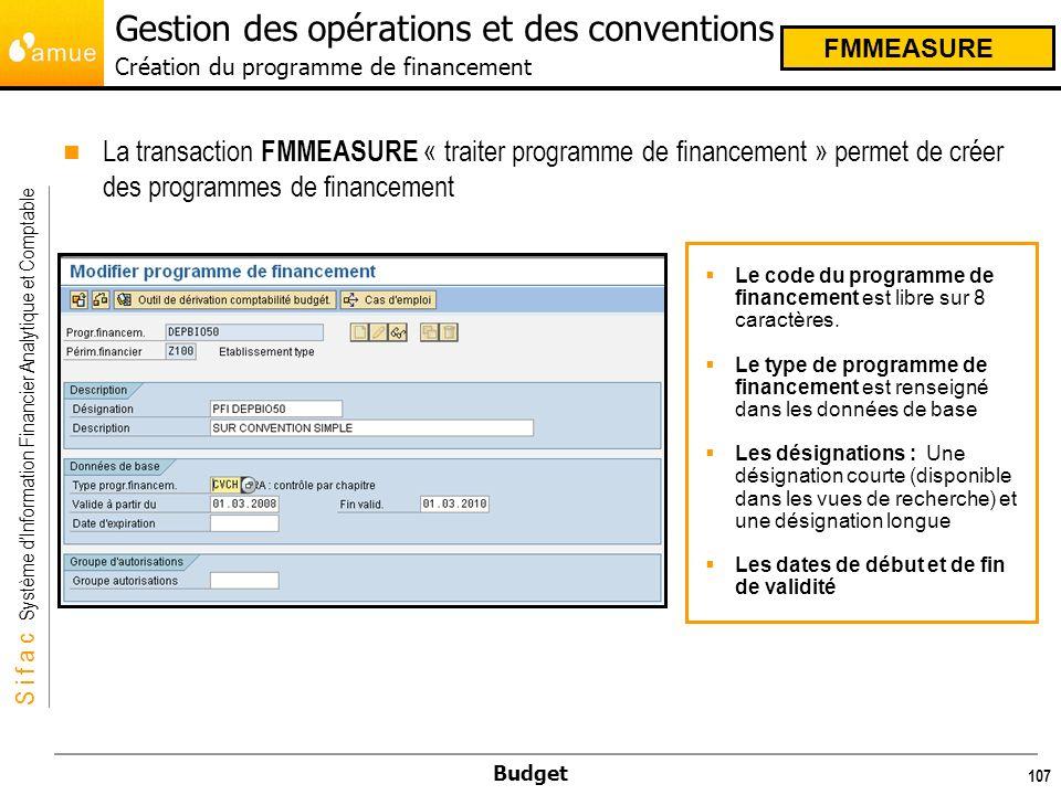 Gestion des opérations et des conventions Création du programme de financement